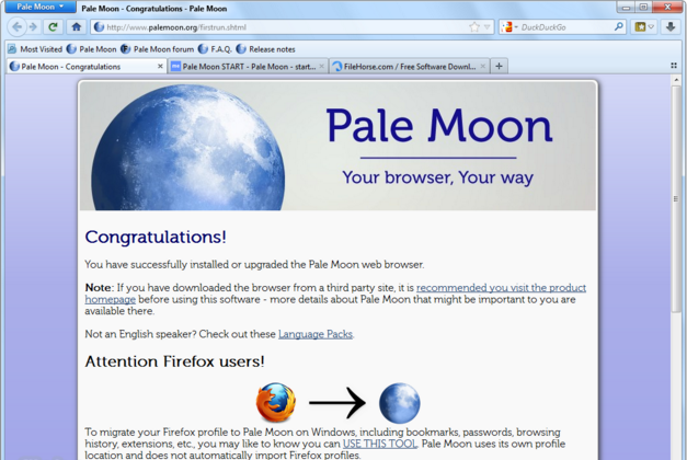 Download Pale Moon 27.7.1. Latest